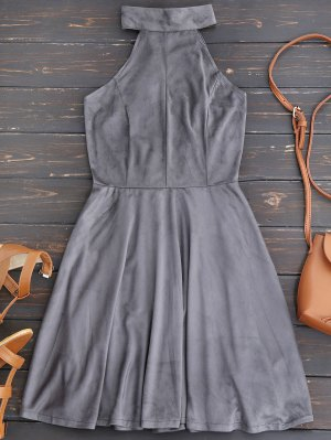 Faux Suede Lace Up Choker Skater Dress - Gray