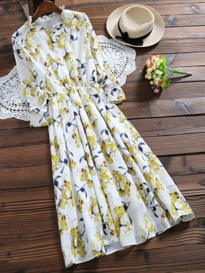 Long Sleeve Painted Flower Shirt Dress - Yellow
