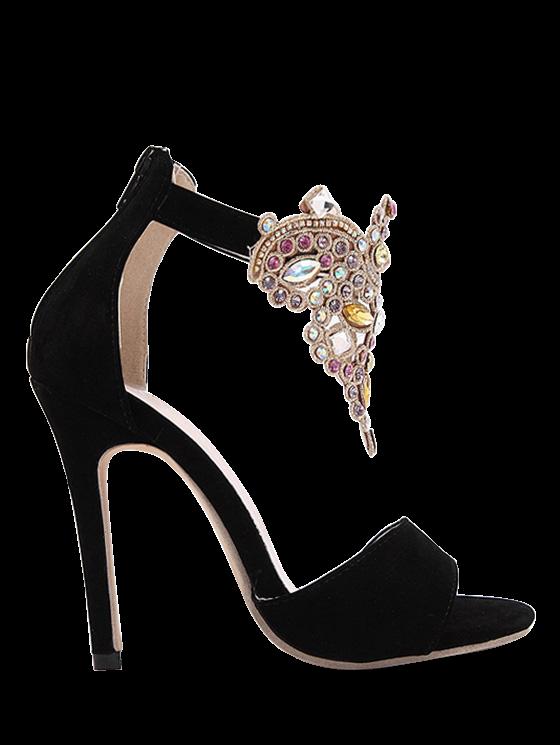Flock Stiletto Heel Colorful Rhinestone Sandals