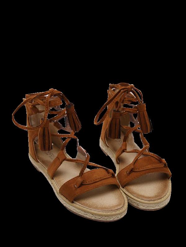 Tassels Lace Up Espadrilles Sandals