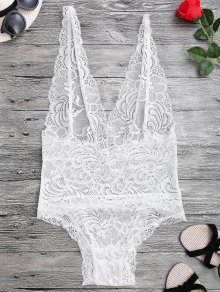 Sheer Lace Plunging Neck Teddy Lingeries - White M