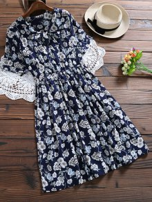 Bow Tie Floral Holiday Dress - Cadetblue