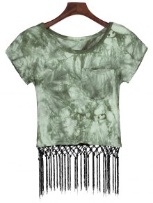 Tie Dye Pocket Fringed T-Shirt