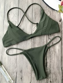 Padded Cross Back Thong Bikini Set