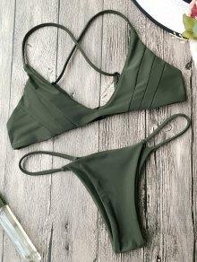 Padded Cross Back Thong Bikini Set - Army Green