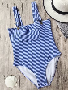 Zaful Straps High Cut Striped Swimwear