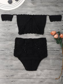 Off Shoulder High Waisted Crochet Bikini - Black M