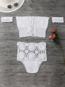 Off Shoulder High Waisted Crochet Bikini - White