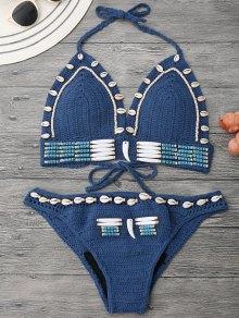 Beaded Seashell Embellished Crochet Bikini Set