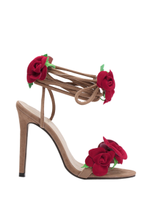 Rose Lace-Up Stiletto Heel Sandals