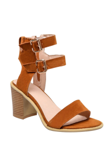 Solid Color Double Buckles Chunky Heel Sandals