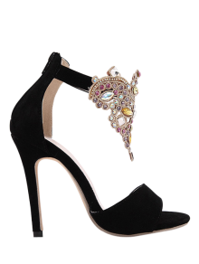 Flock Stiletto Heel Colorful Rhinestone Sandals - Black 38