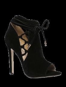 Évider Flock Noir Chaussures Peep Toes - Noir