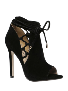 Hollow Out Flock Black Peep Toe Shoes