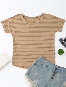 Oversized Striped High Low T-Shirt - Dark Khaki M