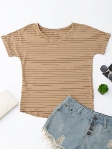 Oversized Striped High Low T-Shirt - Dark Khaki L