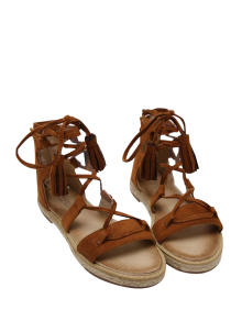 Sandales Espadrilles à Glands Et Lacets - Brun