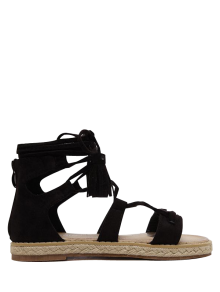 Tassels Lace Up Espadrilles Sandals - Black