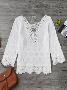 Crochet Flower Cutout Beach Cover Up Top