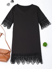 V Neck Lace Hem T-Shirt Dress