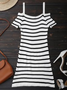 Spaghetti Strap Cold Shoulder Striped Knit Dress - White