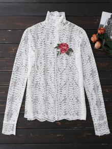 Floral Lace Mock Neck Top - White S