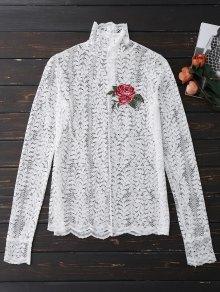 Cuello De Encaje Floral - Blanco M
