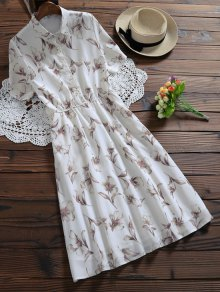 Half Buttoned Floral Shirt Dress - White