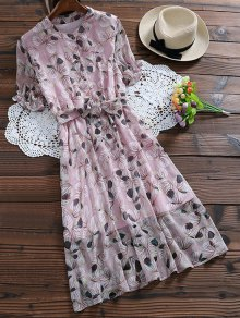 Buttoned Print Holiday Dress With Belt