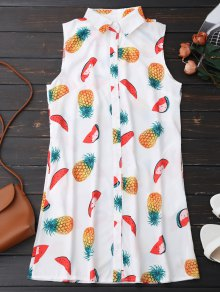 Sleeveless Pineapple Watermelon Shirt Dress - White