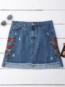Floral Embroidered Frayed Hem Denim Skirt - Denim Blue M