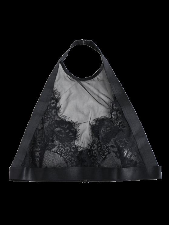 Lace Mesh Halter Bra - BLACK M Mobile