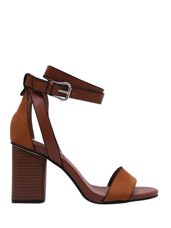 hot Chunky Heel Suede Ankle Strap Sandals - BROWN 37