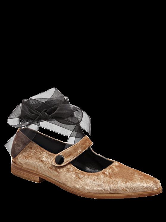 hot Ribbon Tie Up Velvet Flat Shoes - APRICOT 37