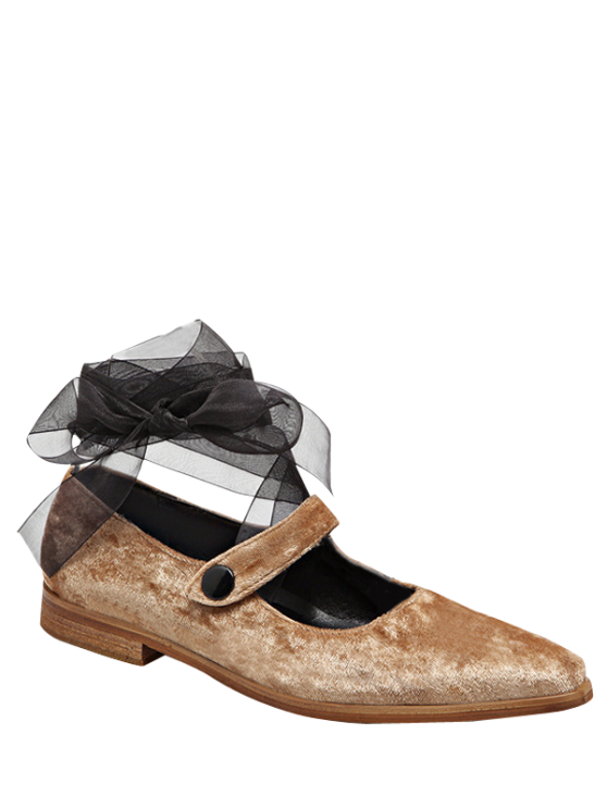outfits Ribbon Tie Up Velvet Flat Shoes - APRICOT 39