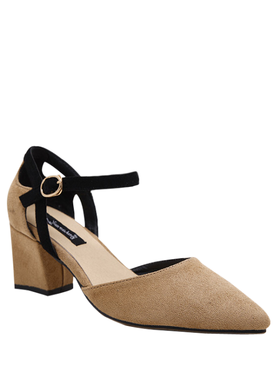buy Pointed Toe Suede Chunky Heel Pumps - KHAKI 39