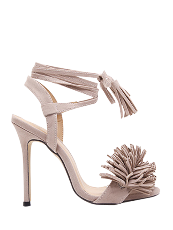 outfits Fringe Lace-Up Stiletto Heel Sandals - APRICOT 37
