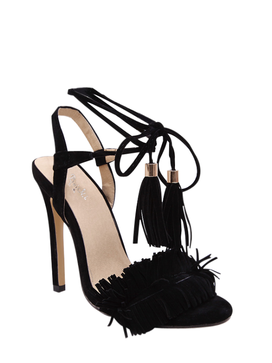 chic Fringe Lace-Up Stiletto Heel Sandals - BLACK 37