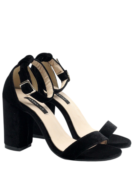 fancy Block Heel Velvet Ankle Strap Sandals - BLACK 38