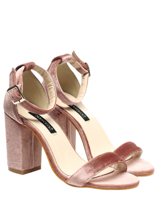 women Block Heel Velvet Ankle Strap Sandals - PINK 38