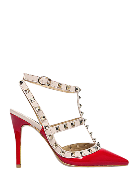 fancy Strap Rivet Pointed Toe Pumps - RED 38