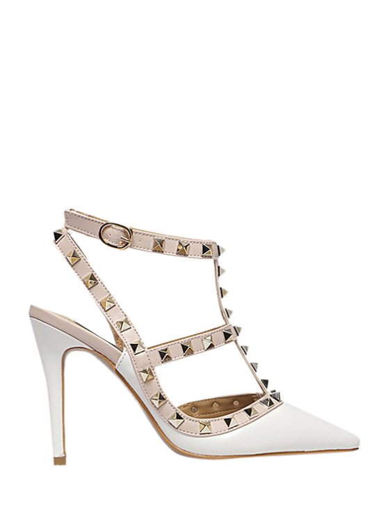 affordable Strap Rivet Pointed Toe Pumps - WHITE 37