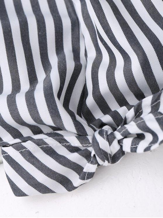 Off Shoulder Ruffle Knot Hem Crop Top - BLACK STRIPE S Mobile