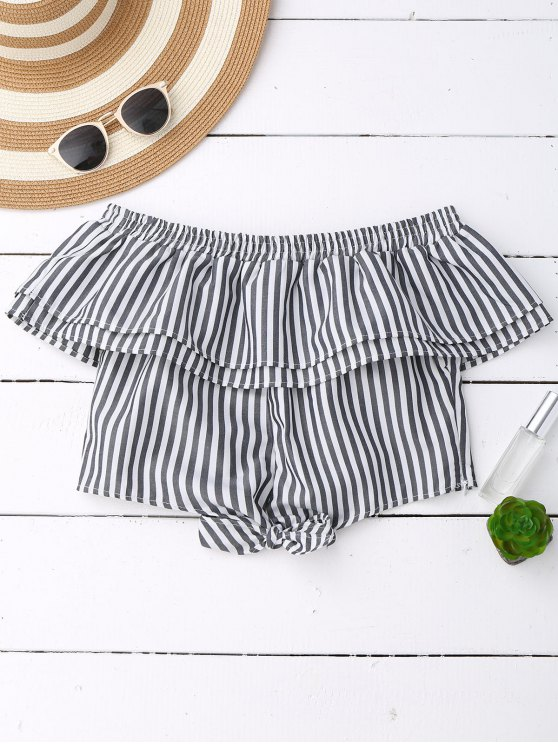 Off Shoulder Ruffle Knot Hem Crop Top - BLACK STRIPE L Mobile