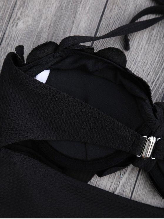 Cut Out High Leg Scalloped Swimwear - BLACK XL Mobile