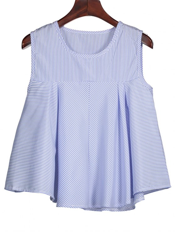 shop Stripes Ruffles Tank Top - BLUE S