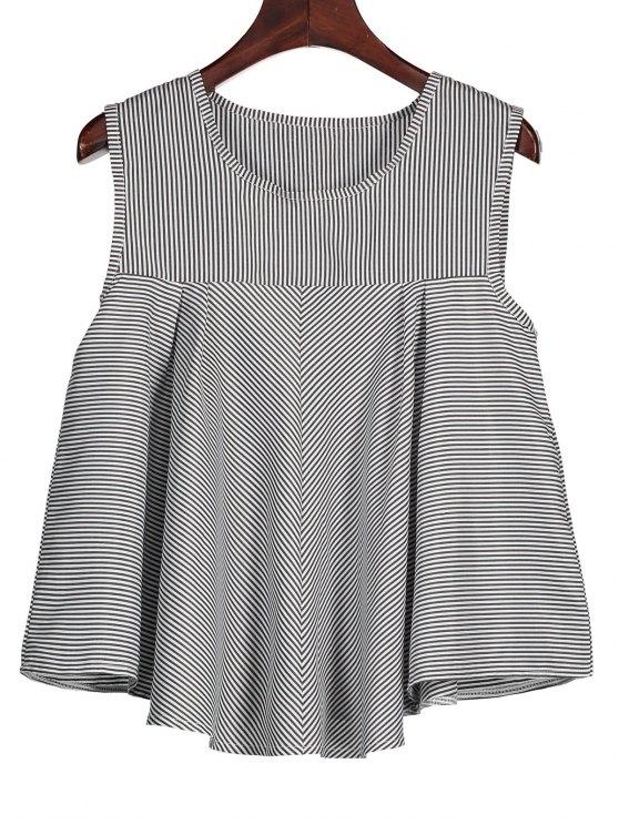 fashion Stripes Ruffles Tank Top - BLACK S