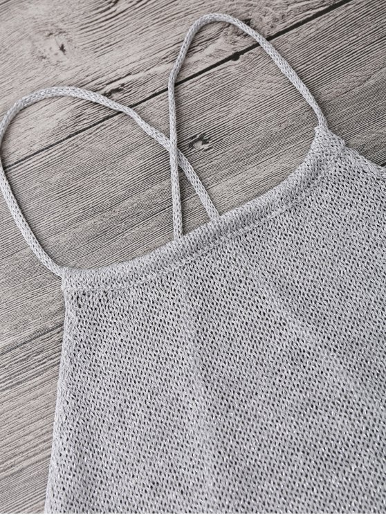Strappy Apron Neck Beach Cover Up Dress - SILVER GRAY ONE SIZE Mobile