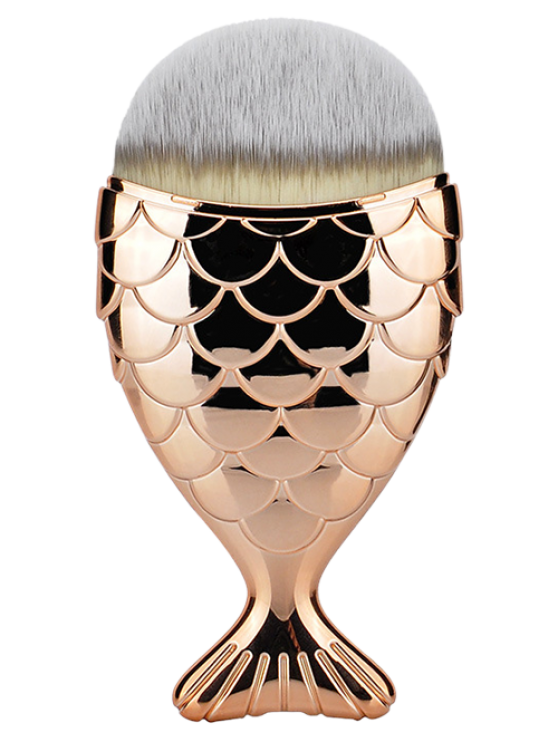 women Fiber Wide Beauty Mermaid Foundation Brush - ROSE GOLD