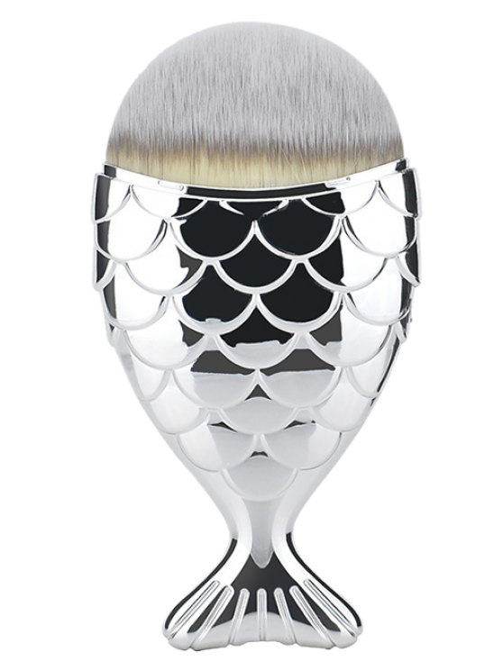 Fiber Wide Beauty Mermaid Foundation Brush - SILVER  Mobile